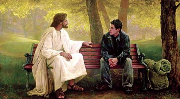 Jesus on bench with a man