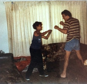 My Dad and I are fooling around as we are in boxing match. My Dad was hardcore fan of boxing, picture was taken in 1982.